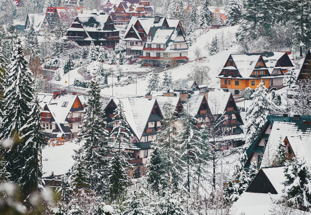Houses in the Zakopane architectural style.